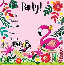 Flamingo Theme Party Invitations Girls Birthday Glitter Invites Tropical 8 Pack