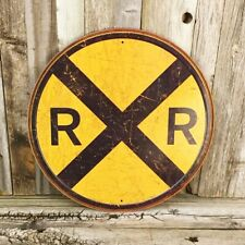 "Railroad Rail Road RXR Crossing 12"" Round Metal Tin Sign Vintage Train Collector"