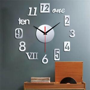 Frameless Number Wall Clock 3D Mirror Sticker Modern Home Decor Art Decal US