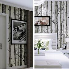 Modern Embossed Forest Birch Tree Mural Forest Wood Wallpaper Vinyl Roll 10M