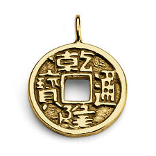 Chinese Feng Shui Coin Pendant #14K Gold Plated Sterling Silver #Azaggi P0046G