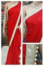 Bollywood Designer Party Wear Red Color pearl Border Work Georgette Fabric Saree