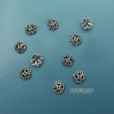 10PC Solid Sterling Silver 7mm Scroll Heart Floral Bead Cap Spacer #33807