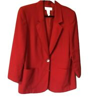 Kim Rogers 12 P Button Front Jacket Coat Blazer Women Red Blazer