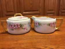 New listing Hutschenreuther Germany Porcelain Pink Flowers Creamer and Sugar Bowl w/Lid