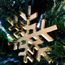 Gold Mirror Crystal Snowflake Christmas Tree Decorations & Green Ribbon x 10