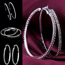 Silver Plated Earrings Hoop Large Diamond Patterned Ladies Silver 45mm Cry UKLQ