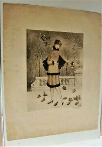 FRANCE 1930'S PAUL EMILE FELIX ART DECO PRINT TITLED L'HIVER