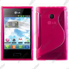 Housse Etui Coque Silicone Motif S-line Gel Souple Rose LG Optimus L3 E400