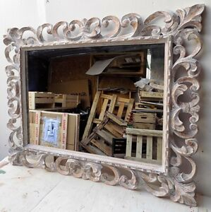 Mirror Baroque Wooden Inlaid CMS 100x80 White Pickled Finish Frame