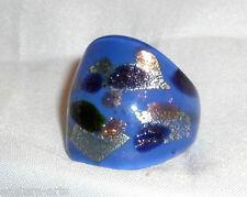 1 x Italian Murano Glass Art Silver Foiled Glass Ring Size USA 8.5 / UK Q 1/2