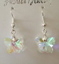 Crystal Butterfly Earrings - Clear AB Glass Beads -Wedding Bridesmaids Jewellery