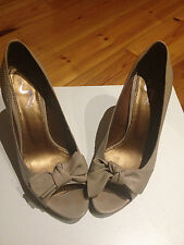 Senso High Heels Stone Bow Peep Toe Platform Leather Beige Cork Wood Pumps Nude