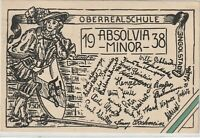 Ansichtskarte Oberrealschule Ingolstadt - Absolvia Minor 1938 mit Namen/Wappen