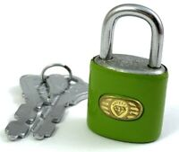 VINTAGE LOCK WITH KEYS PADLOCK SMALL SIZE FOR DIARY JEWELRY BOX LIGHT GREEN