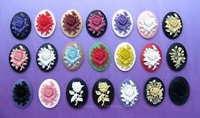 21 unset Mixed Colors ROSE flower 40mm x 30mm CAMEOS Costume Jewelry craft LOT