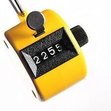 Digital Hand Held Tally Clicker Counter 4Digit Number Clicker Golf Chrome Yellow