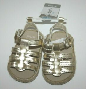 Carter's Gold Crib Sandals Baby Girl Shoes New NWT Size: 3-6 Months