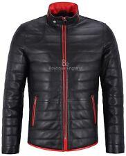 Hombres Chaqueta De Cuero Con Acolchado Negro Rojo Recortar Biker abrigo 4141