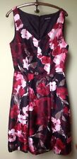 Liz Claiborne Dress~Size 6~Floral Pleated Black Red Roses Party Formal