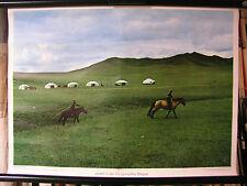 Schulwandbild Wall Picture Old Yurts Mongolian Steppe Asian 71x51