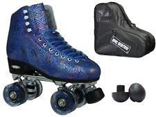 Epic Dazzle Elite Blue & Gold Metallic High-Top Quad Roller Skate 3 Pc Bundle