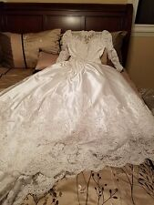 wedding dress never worn white long sleeves satin and lace with train