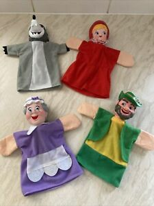 LITTLE RED RIDING HOOD HAND PUPPETS X4 BIG BAD WOLF GRANDMA WOODSMAN BY SHOWTIME