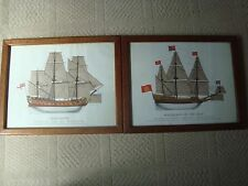2 Vintage prints Sovereign Of The Seas & Gloucester Military framed