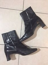 Vintage Charles Jourdan France Black Patent Leather Ankle Boots 7 80s 90s