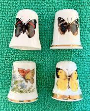 Set Of 4 Butterfly Thimbles Bone China