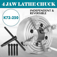"10"" 250mm K72-250 Lathe Chuck 4 Jaw Independent Reversible 1800r/min 47lb"