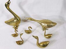 Leonard Solid Brass Geese Goose duck family 7 pc lot
