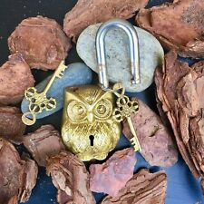 Antique Owl Padlock Solid Brass working love lock skeleton key Rustic Chippy
