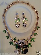 HUGE chunky crystal panda necklace and earrings set in a gold coloured finish