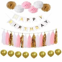 Mixed Paper Tassel Pom Poms Balloons Happy Birthday Bunting Banner Party Decor
