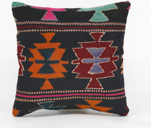 Handmade Pillow Cover 16x16 Turkish Kilim Pillow 100%
