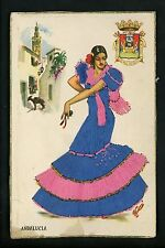 Embroidered clothing postcard Artist Gumier Spain Andalucia woman costumes