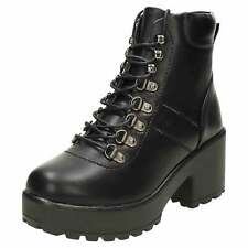 Black Chunky Heel Platform Ankle Lace Up Boots Gothic Combat Biker Shoes Womens