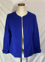 Chico's Women's Mysterious Blue Alicia Texture Jacket Hook Eye Blazer Size 1