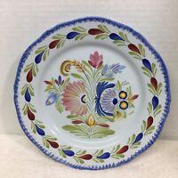 "Quimper Fleur Royal 10"" Dinner Plate Floral Blue Back Very Nice Shape Plate A"