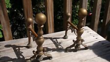 VINTAGE BRASS DECORATIVE SMALL FIREPLACE IRONS FIRE DOGS ANDIRONS