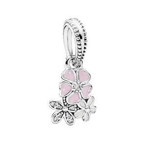 Genuine Pandora Silver Poetic Blooms Pendant Charm 791824ENMX
