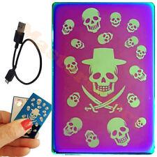 Briquet tempête résistance rechargeable sur USB couleur anodisé Tête de Mort