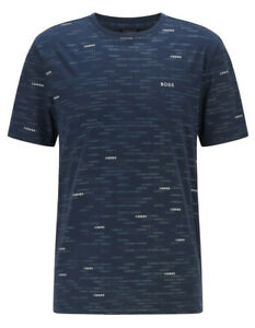 HUGO BOSS Regular Fit Tee T-Shirt with All Over Logos * Dark Blue * NEW w/TAG