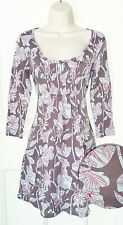 White Stuff~Brown blue red floral tunic 3/4 sleeves 100% cotton-Size 10