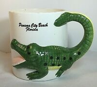 Vintage Florida Alligator Tail Handle Souvenir Coffee Mug Cup Panama City Beach