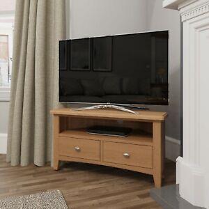 Danish Oak Corner TV Unit / Small Media Stand / 1 Drawer Television Cabinet