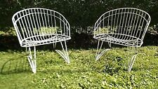 2 Home Crest Barrel Style Patio Iron Chairs MidCentury Mod Very Good Homecrest