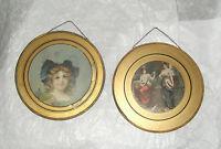 Lot 2 Antique Tin & Glass Flue Covers Litho Prints Victorian Girls - Musicians